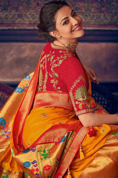 Orange Party Wear Woven Silk Saree with Zari