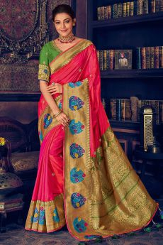 Coral, Green and Gold Silk Weaved Party Wear Saree