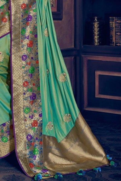 Party Wear Silk Weaved Saree with Zari
