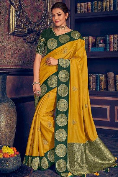 Mustard Yellow Silk Weaved Party Wear Saree