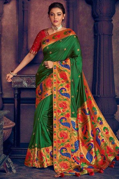 Green Silk Weaved Party Wear Saree