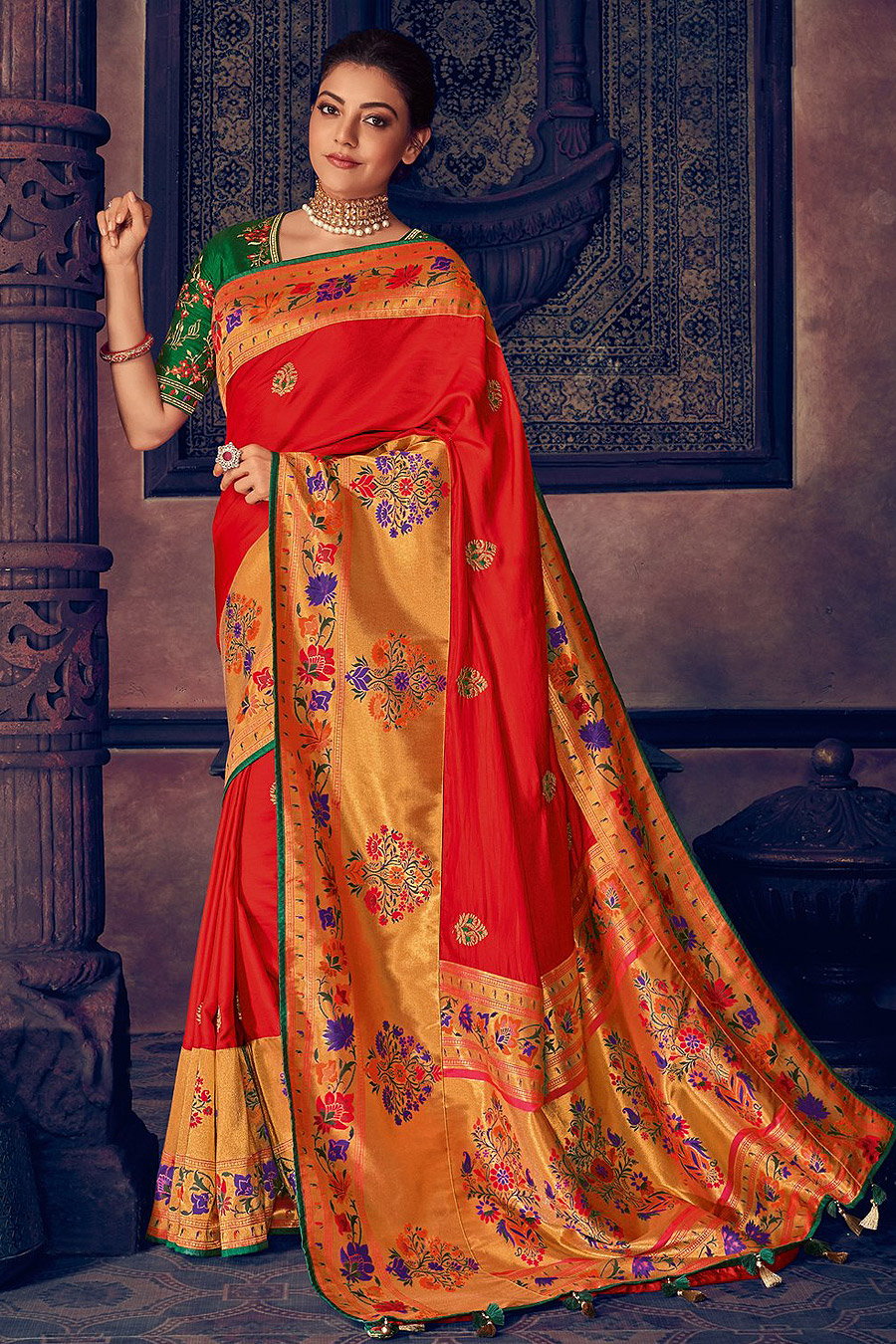 Red Silk Weaved Party Wear Saree