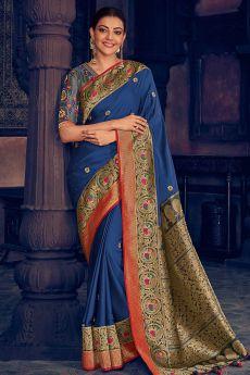 Blue Silk Weaved Party Wear Saree