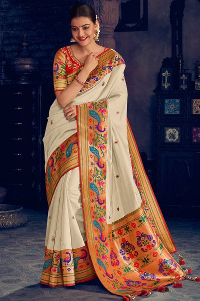 Ivory Party Wear Woven Silk Saree with Peacock Motifs