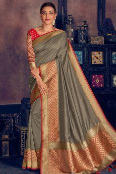 Grey Silk Weaved Party Wear Saree