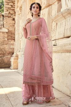 Pink Party Wear Palazzo Suit with Embroidery