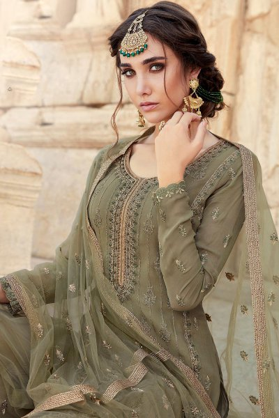 Mehendi Green Party Wear Palazzo Suit with Embroidery