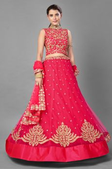 Red Party Wear Embroidered Lehenga Choli