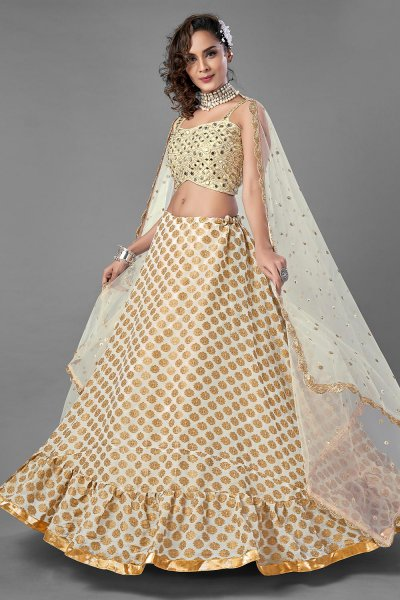 Pearl White and Golden Party Wear Lehenga Choli with Mirror work