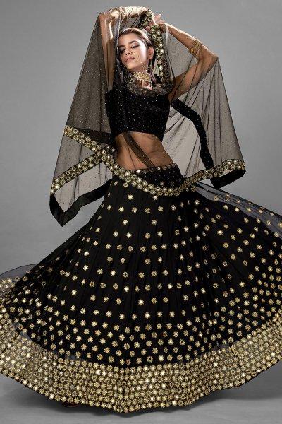 Black Party Wear Lehenga Choli with Mirror work