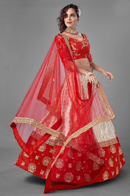 Red Ivory Zari Embroidered Lehenga Choli