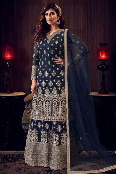 Navy Blue Zari Embroidered Flared Palazzo Suit