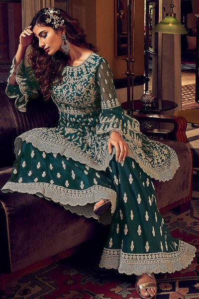 Teal Green Zari Embroidered Peplum Palazzo suit