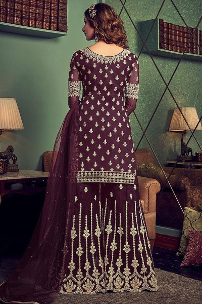Plum Zari Embroidered Straight Palazzo Suit