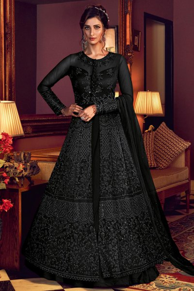 Black Designer Anarkali with Lehenga/Pant