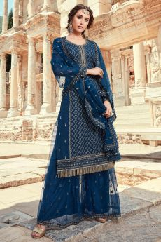 Navy Blue Party Wear Palazzo Suit with Embroidery