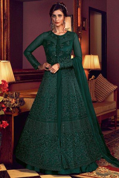 Green Designer Anarkali with Lehenga/Pant