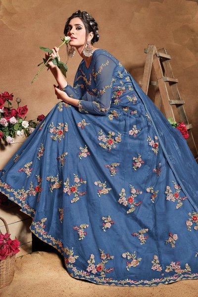 Steel Blue Floral Embroidered Anarkali Suit