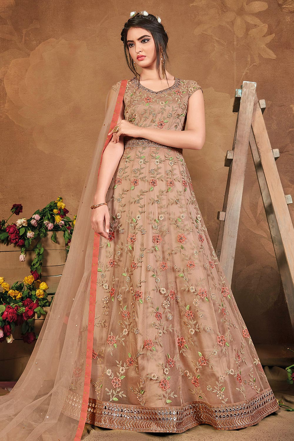 Deep Peach Floral Embroidered Anarkali Suit