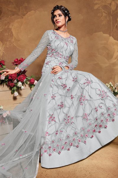Pale Grey Blue Floral Embroidered Anarkali Suit