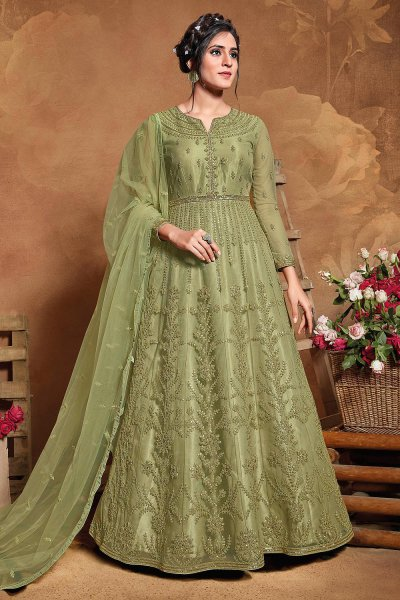 Green Embroidered Anarkali Suit with Sequins work