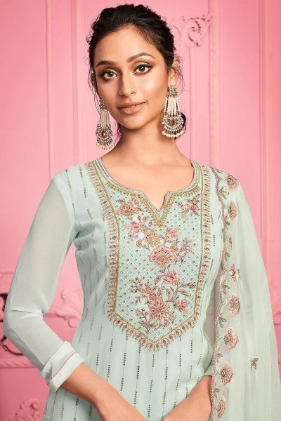 Misty Teal Embroidered Party Wear Suit in Georgette