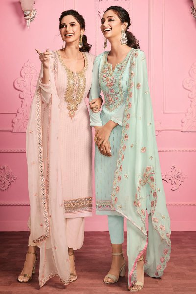 Pretty Pale Peach Embroidered Party Wear Georgette Suit