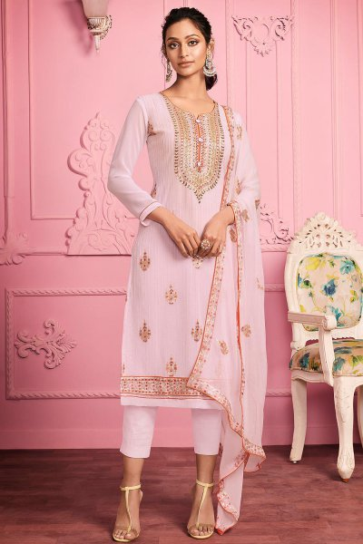 Elegant Pure Georgette Suit in Pink