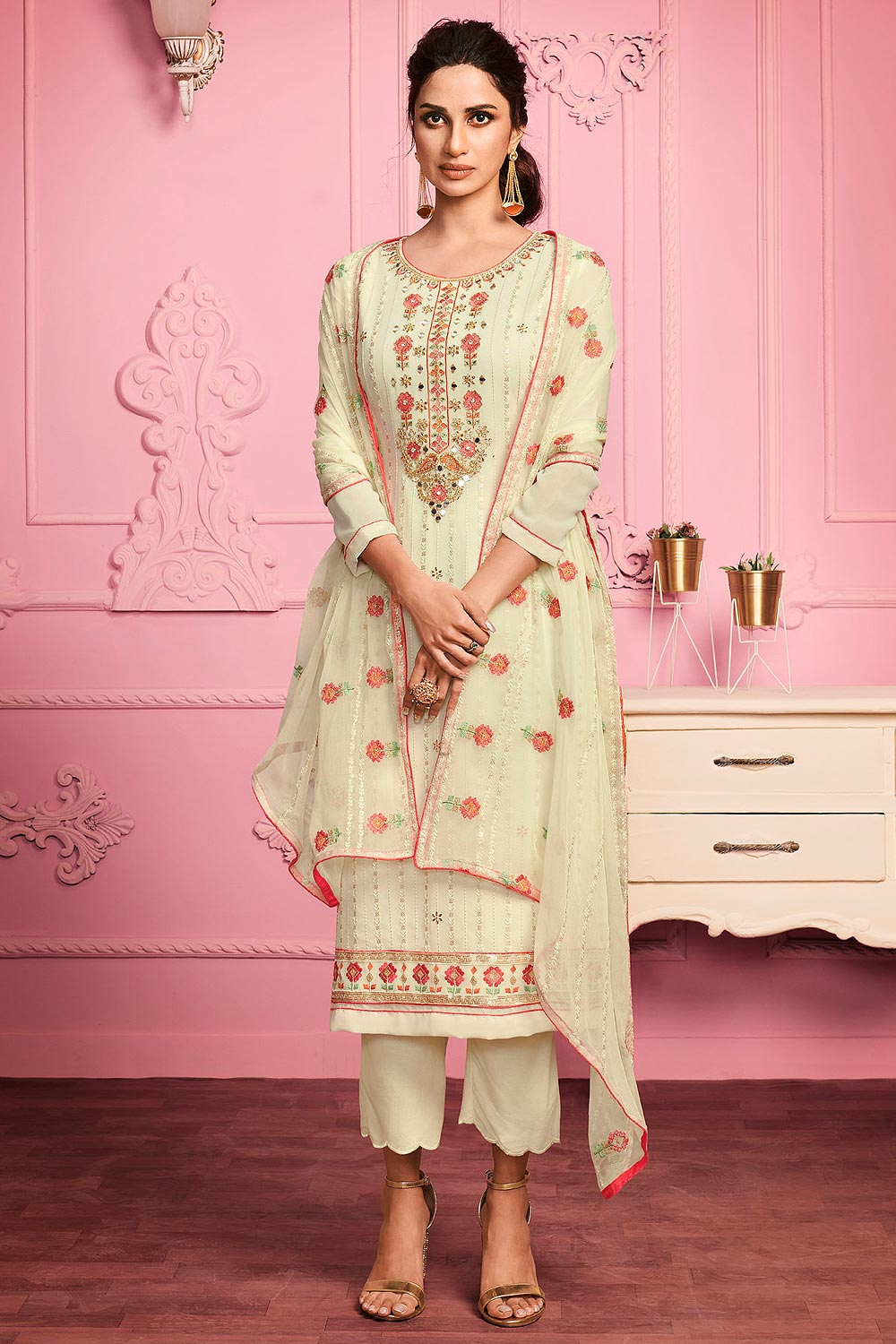 Pale Yellow Floral Embroidered Georgette Suit