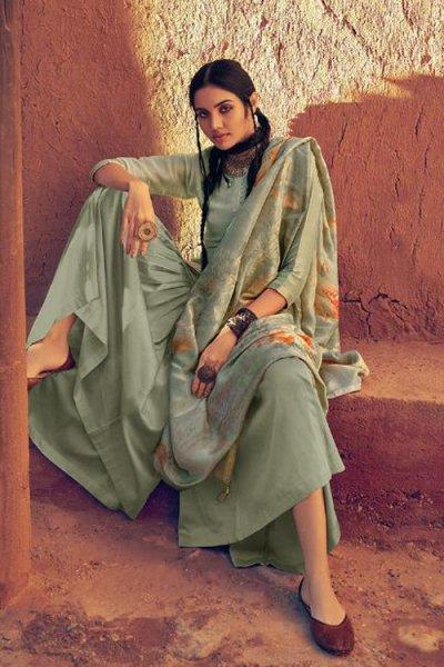 Stunning Sage Green Sharara Suit in Silk