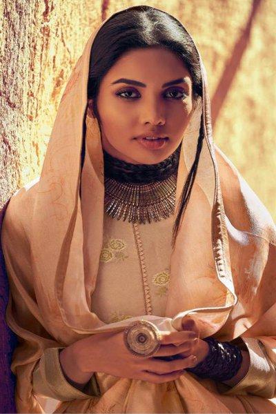 Dusty Beige Stunning Sharara Suit in Silk