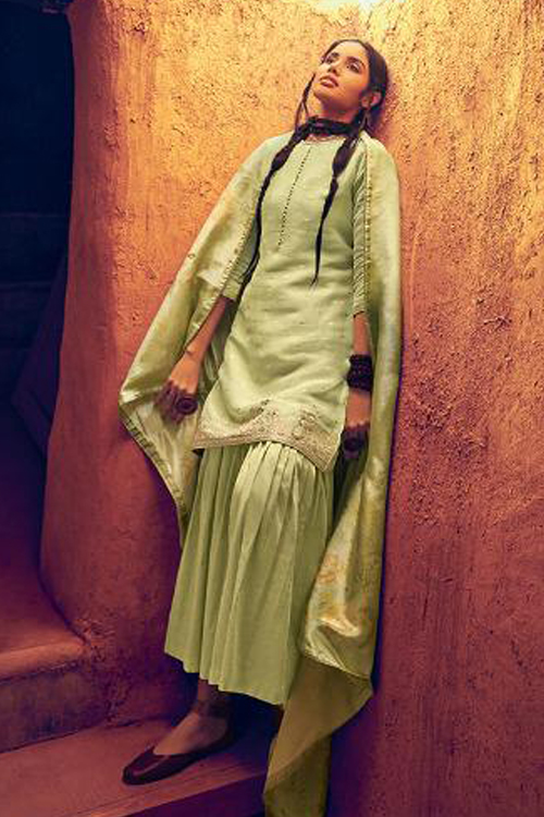 Lime Green Silk Sharara Suit with printed Silk Dupatta