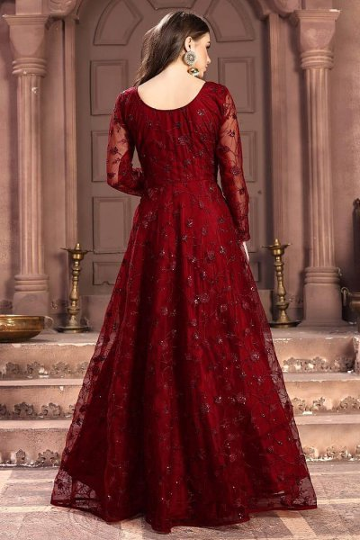 Cherry Red Embroidered Anarkali Suit with Sequins work