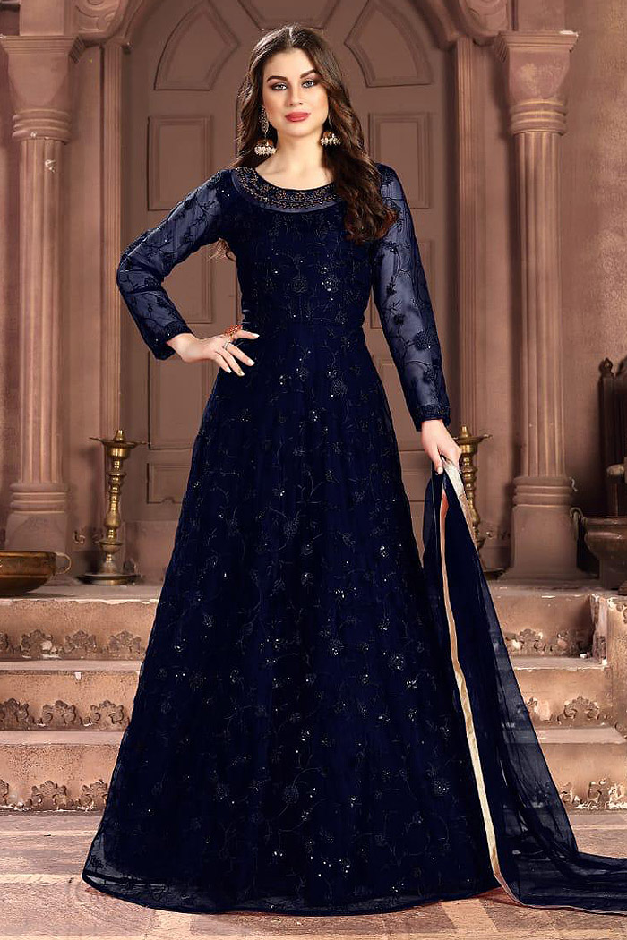 Navy Blue Embroidered Anarkali Suit with Sequins work