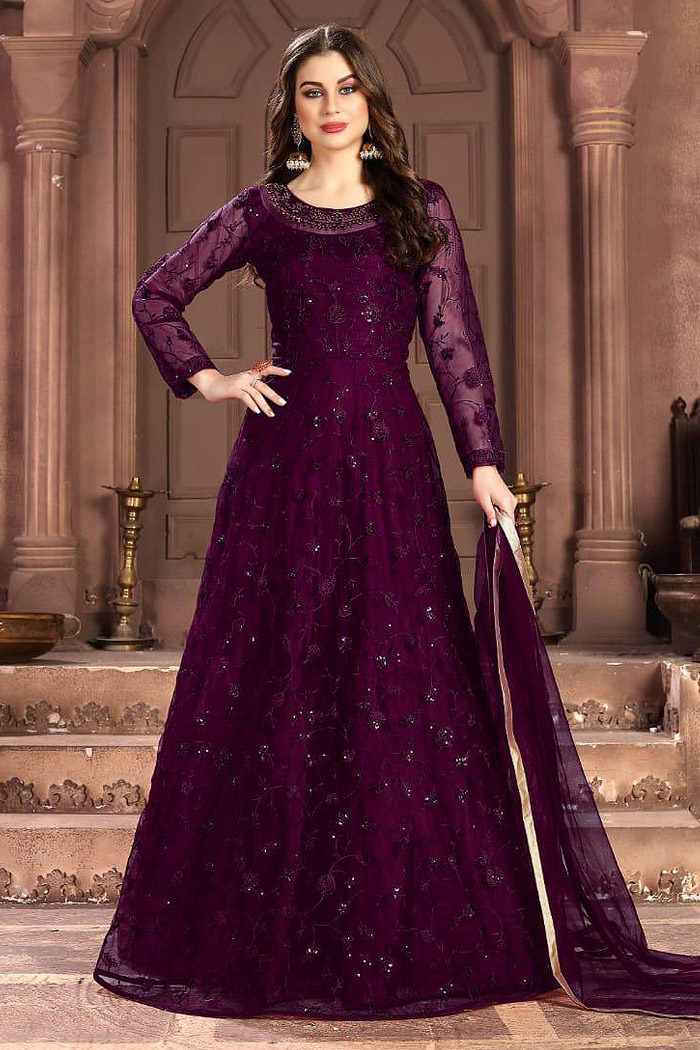 Plum Embroidered Anarkali Suit with Sequins work