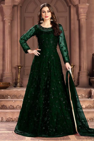 Bottle Green Embroidered Anarkali Suit with Sequins work