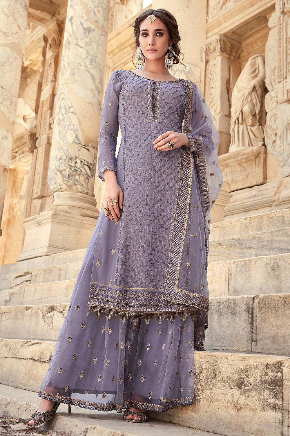 Misty Lilac Party wear Sharara Suit with Embroidery