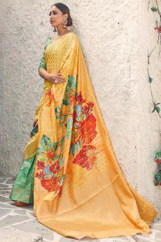 Orange & Green Floral Print Cotton Silk Designer Saree