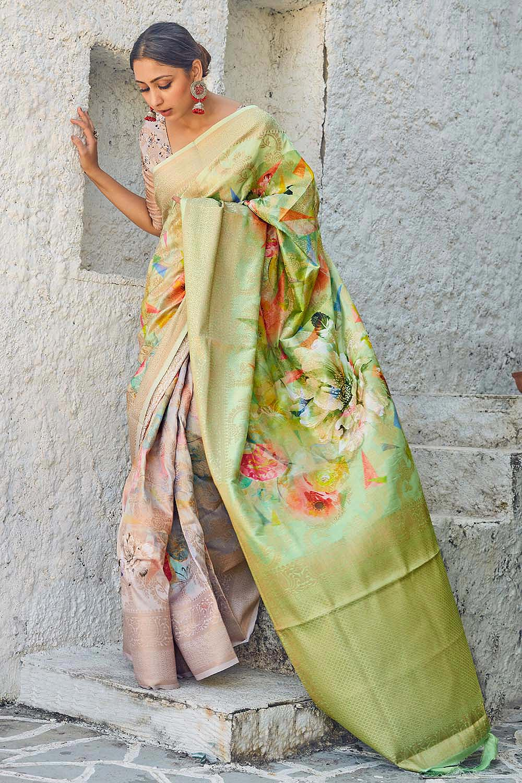 Green & Beige Floral Print Cotton Silk Designer Saree