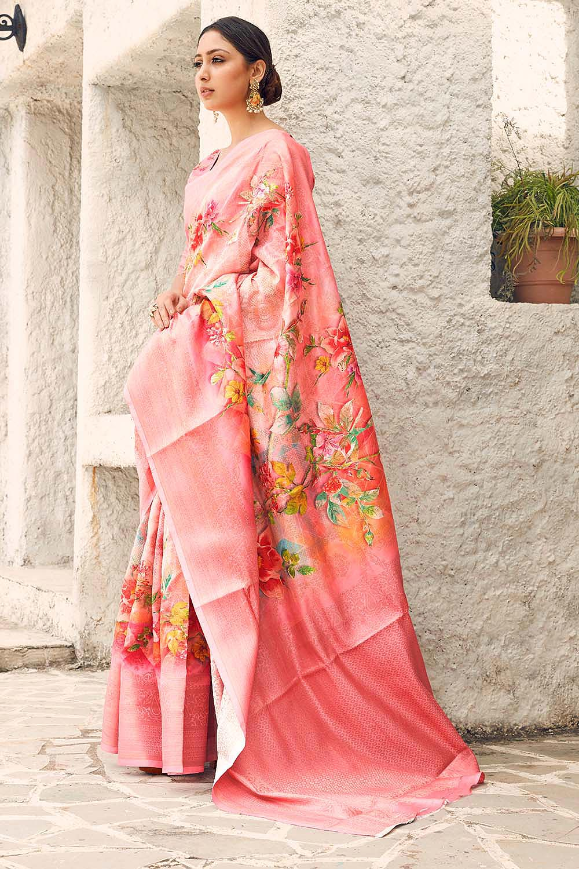 Coral Pink Floral Print Cotton Silk Designer Saree