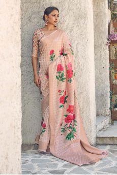 Beige Floral Print Cotton Silk Designer Saree
