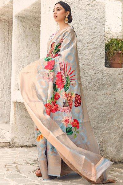 Ice Blue & Beige Floral Print Cotton Silk Designer Saree