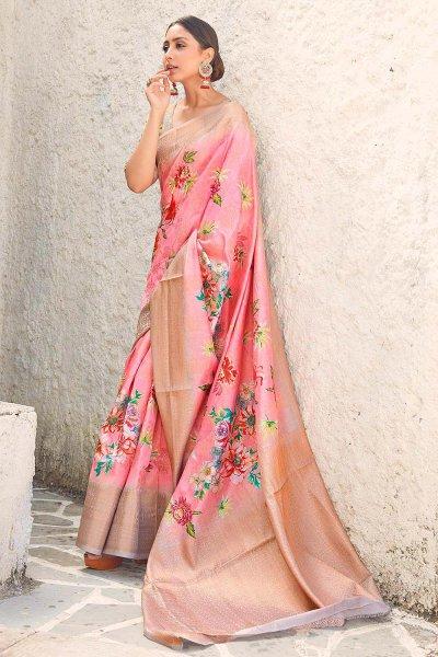 Rose Pink Floral Print Cotton Silk Designer Saree