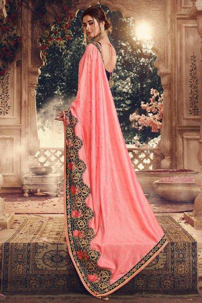 Stunning Peach Designer Silk Saree with Applique Flowers