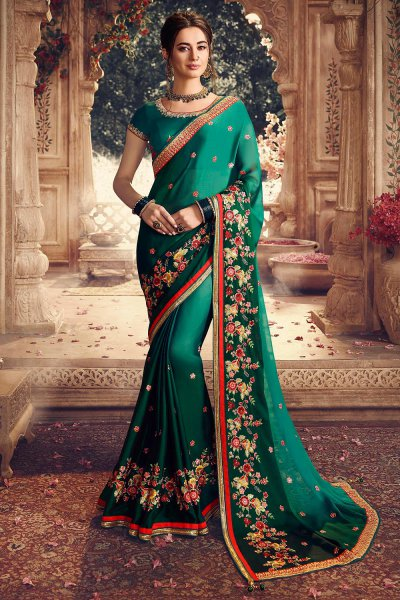 Green Ombre Designer Silk Saree with Floral Embroidery