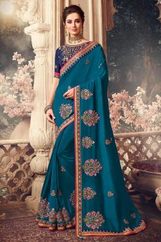 Peacock Blue Handloom Silk Saree with Floral Embroidery