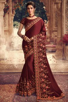 Maroon Silk Satin Saree with Floral Embroidery