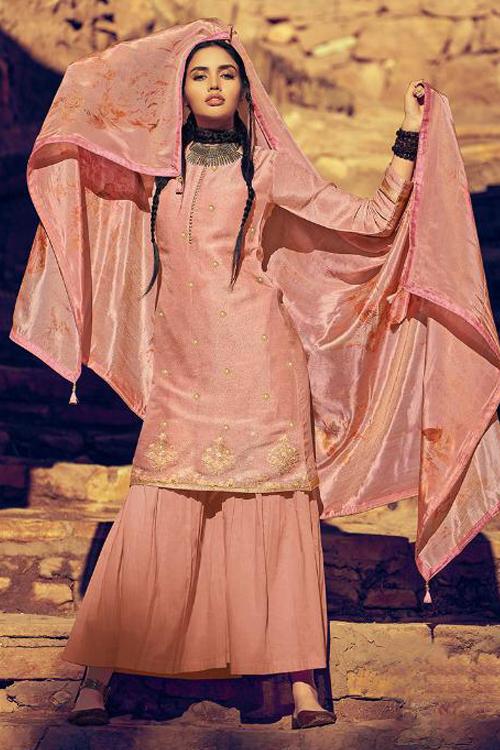 Peach Sharara Suit in Silk with Silk Dupatta