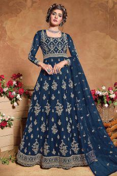 Blue Zari Embroidered Net Anarkali Suit