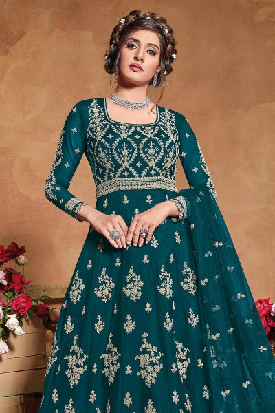 Teal Green Zari Embroidered Net Anarkali Suit